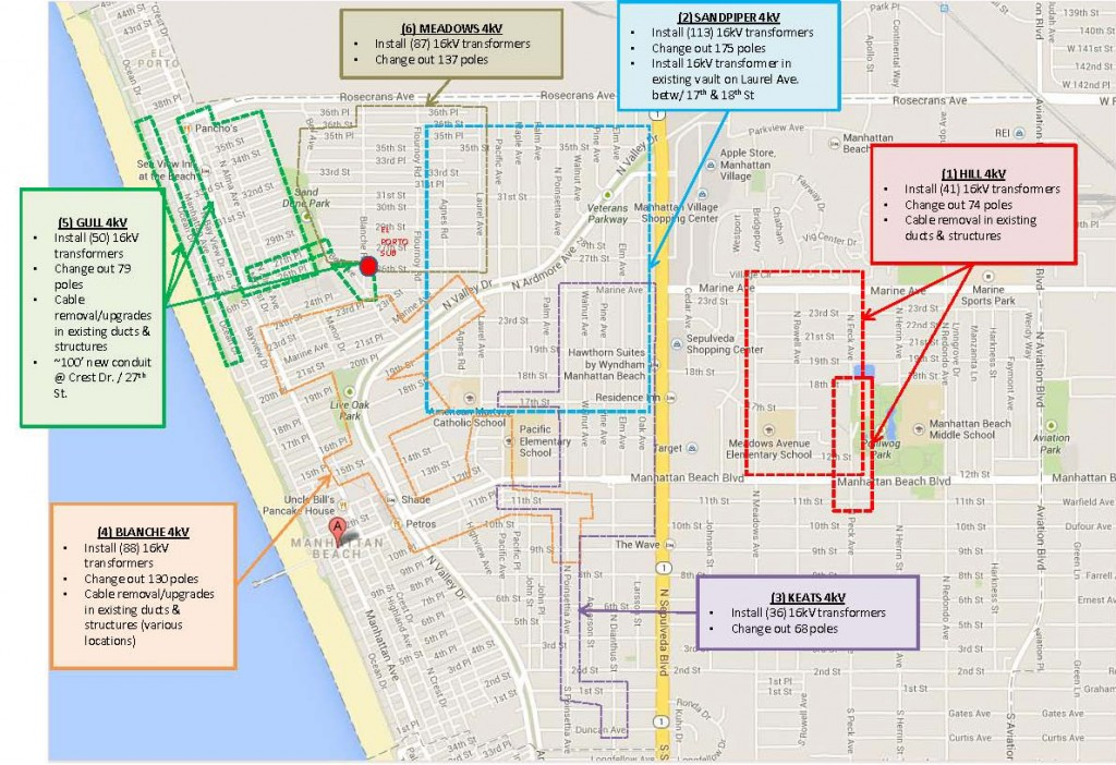 SCE Construction Map of Manhattan Beach