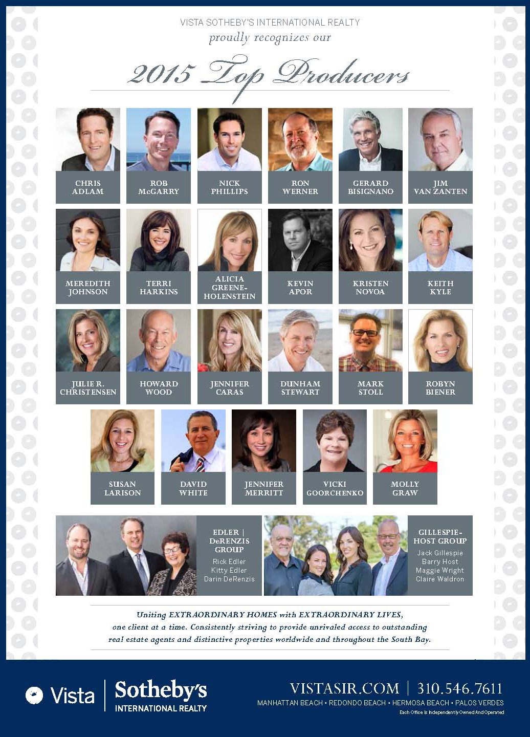 Vista Sothebys 2015 Top Producing Realtors
